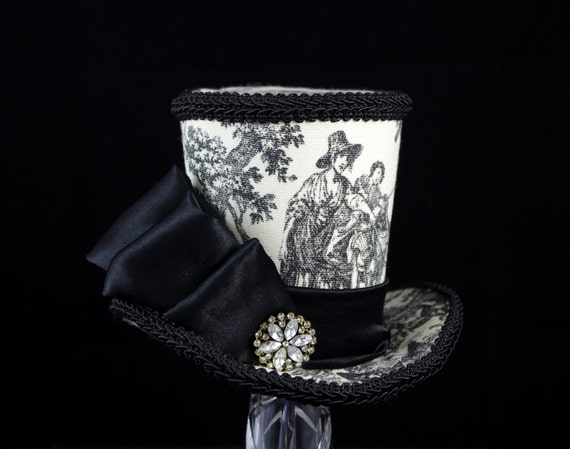 Black and Off White Toile Large Mini Top Hat Fascinator, Alice in Wonderland, Mad Hatter Tea Party, Derby Hat, Victorian, Rustic, Pastoral