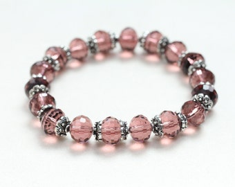 june birthday pink beaded stretch bracelet / glass bead bracelet / czech glass bracelet / layering bracelet feminine spring jewelry