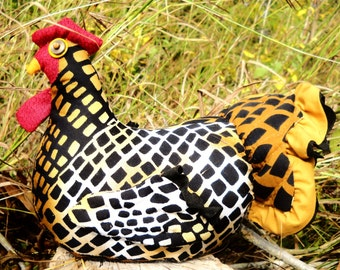 Cheetah Chicken doll doorstop made to order - with quilted wings and tail, life-like comb and wattle, beady button eyes