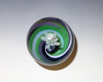 Striped Vortex Glass Marble with Plume and Opal - flamework, lampwork, borosilicate