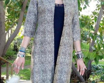 Women's  Jacket, Silk Coat, Leopard Print Coat, Animal Print, Women's Light Summer Duster, Women's Clothing, Silk Coat
