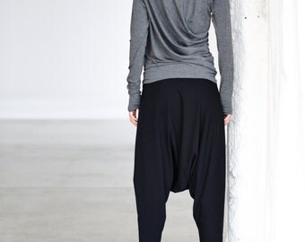Gray Drape Top/ Long Sleeved Blouse/ Gray Looose Top/ Drape Blouse by Arya Sense/ TLUB14NG