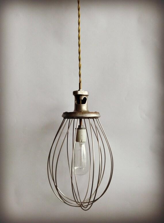Vintage Pendant Lamp Whisk Industrial Art Deco Lighting Shabby Chic Cottage Vintage Man Cave Minimalist