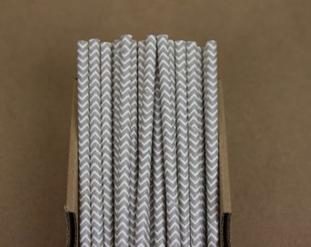 25 light grey chevron paper straws (PS1015) - with printable DIY flags