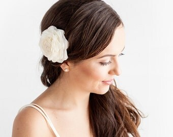Wedding Hair Clip Classic Rose - Rose Hair Clip - Ivory, White - Bridal Hair Accessories