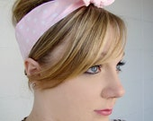 Pink Polka Dot Retro Headband - Pin Up Hair Scarf - Rockabilly Headband