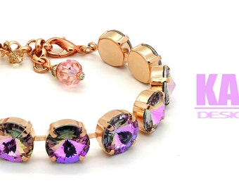 CRYSTAL VITRAIL LIGHT 12mm Crystal Rivoli Bracelet Made With Swarovski Elements *Pick Your Finish *Karnas Design Studio *Free Shipping*