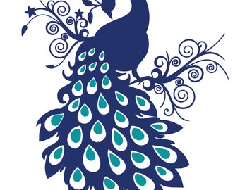 Peacock Wall Decal, Bird Wall Decal, Vinyl Art Sticker Part 38