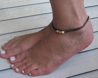 Black Anklet - Multistrand Ankle Bracelet - Gold Anklet - Foot Jewelry - Foot Bracelet - Chain Anklet - Summer Jewelry - Beach Jewelry