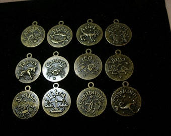 Zodiac Astrological Charms Pendants Picture Frames (12) FULL SET bronze  TeamEsst OlympiaEtsy GirlGeeks WitchesofEtsy paganteam  WWWG