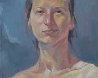 """Art oil painting portrait """"Mysterious Smile"""" Original by Sarah Sedwick 11x14in"""