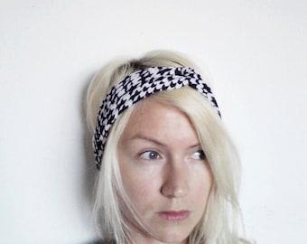 Turban Headband, Houndstooth Print, Yoga Headband, Upcycled Fabric Headband