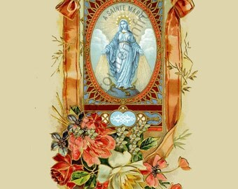 antique french saint Mary mother of Jesus prayer card digital download