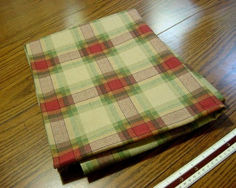 Vintage Plaid Decorator Fabric - Beige Green Adobe Red - Drapery Upholstery Home Decor Material  BTY