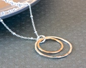 Circles Pendant Necklace, Sterling Silver Chain Necklace, Rings Necklace, Gold Filled Jewelry, Handcrafted Jewelry, Made in USA