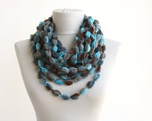 Aquila loop scarf infinity scarf bubble necklace scarf aqua blue scarf winter scarves women fall scarfs circle scarf puff stitch scarf gift