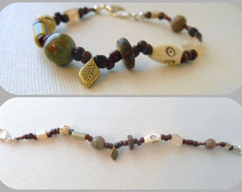 Woodland bracelet  stone beaded bracelet  rustic boho jewelry leaf bracelet  by Peace Stitch Studio