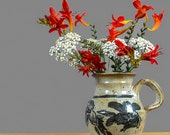 Mexican Pottery Vase / Hand Glazed Floral Pottery Pitcher Vase with Handle / Speckled Grey Cream Brown Blue  Flower Vase