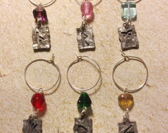 Viking Rune Wine Charms Set of 6 Silver Tone Colorful Glass Beads Wiccan Pagan