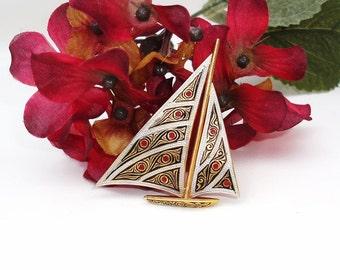 Vintage Damascene Brooch / Enamel Sailboat Pin / Nautical Scarf Pin / Gold Red Black White