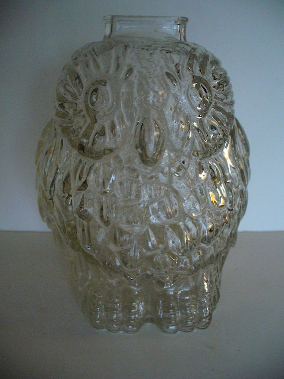 Vintage glass bank vintage owl bank glass owl bank coin bank - Wise old owl glass bank ...