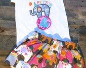 Girls Circus Birthday Skirt and Tee Outfit