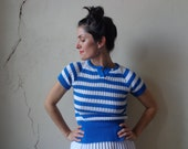 summer sweater/ stretchy/ blue white stripes// small