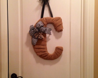 Personalized Initial Burlap and Chevron Wreath/Door Hanging, Wall Hanging, Initial Home Decor