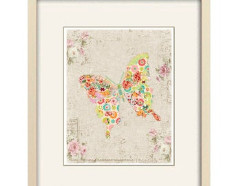 butterfly print shabby chic print butterfly art abstract art cottage chic print butterfly decor baby girl nursery gift for mom gift for her