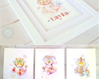 CUSTOM NAME Children's Art - Personalized Baby Art - Custom Kids Watercolor Painting - Custom Name Painting - Personalized Name Art