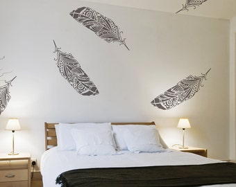 Feathers Wall Stencil Scandinavian, Feathers in the Wind - Large wall stencil for walls - Tribal - Wallpaper look and easy home decor