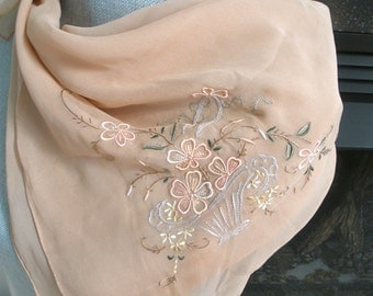 Embroidered Crepe Silk Scarf