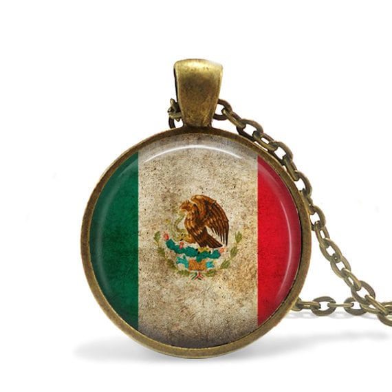 cinco jewelry rustic mexican flag necklace cinco de mayo jewelry mexican 9442