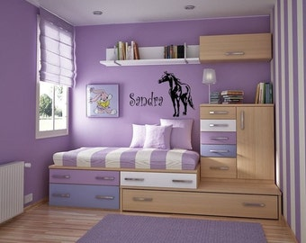 Horse decal-horse sticker-personalized decal-Girls bedroom decal, Teen bedroom decal, Wall words,-23 X 28 inches