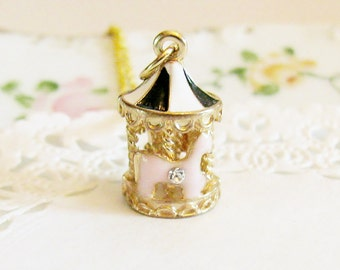 carousel necklace merry go round whimsical jewelry carousel charm adorable finds pink and gold cute jewelry miniature carousel