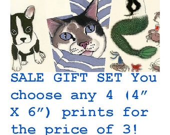 "SALE gift set - BUY this listing and you get to choose 4 of any 4"" X 6"" prints for the price of 3!"