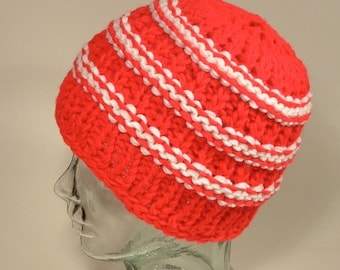 Beanie Hat School Colors Stripes Stretch Red White