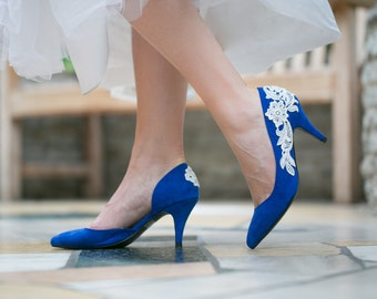 SALE - Wedding Shoes  - Cobalt Blue Wedding Heels, Bridal Shoes, Blue Heels with Ivory Lace. US Size 6