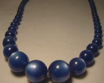 Blue Moonglow Lucite Necklace - Cool 1950s Retro