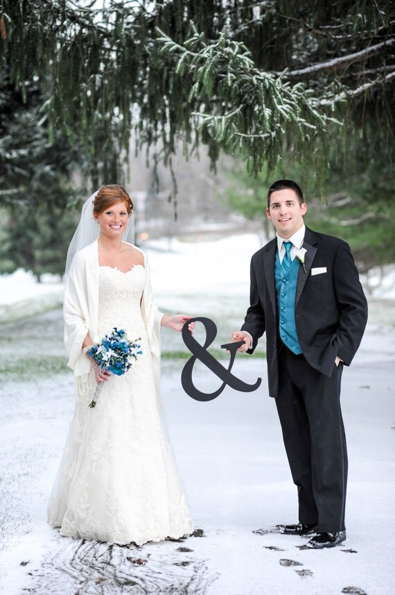 15 Inch Tall Ampersand Sign Photo Prop - Large Wooden Wedding Ampersand Sign Sign for Photos - Photo Prop (Item - AMP150)