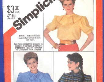 1982 Misses' Pullover Blouse with Neckline and Sleeve Variations - Simplicity Sewing Pattern 5608