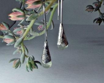 Light Green Prehnite, Artisan Gemstone Earrings, Stone Dangle Earrings, Faceted Briolette Dangle, Long Stone Earrings, Earrings for Mom