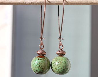 Green Ceramic Earrings Dangle Earthy Earrings Rustic earrings Copper Earrings Jewelry gift ideas