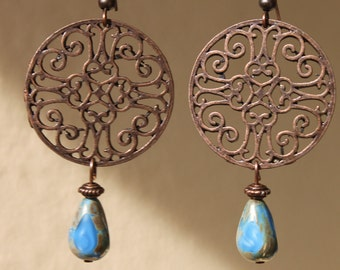 Bohemian Earrings Blue Copper Earrings Dangle Boho Earrings Filigree Czech Glass Earrings Jewelry