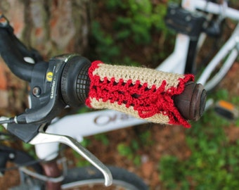 Couple of covers for bike handlebars crochet. Beige and red. Handlebar cover. Beige and red.