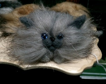 Grey Needle Felted Kitten-Gothic Magical Familiar-Cat Companion