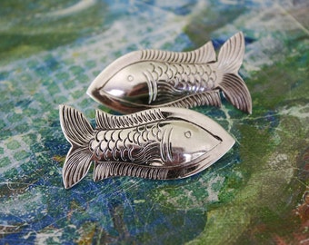 Vintage Earrings , Sterling Silver Earrings, Fish Earrings, Clip on Earrings, Vintage jewelry
