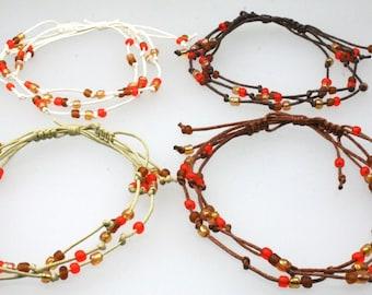 Handmade 3 String Adjustable Bead Surf Anklet
