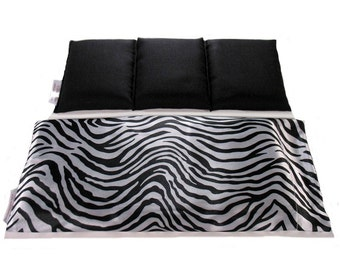 Hot Cold Pain Relief Pad. Arthritis, Fibromyalgia Relief, Home Remedies, Black and White Zebra Satin Cover. Therapeutic Wrap