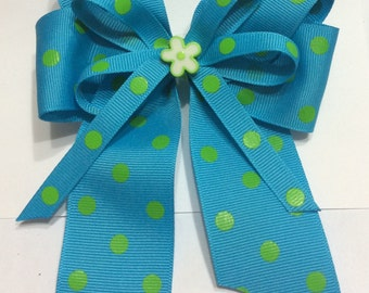 Girls turquoise and green bow
